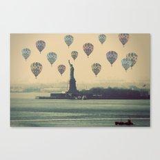 Balloons over Lady Liberty Canvas Print