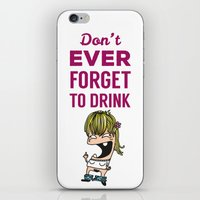 drunk iPhone & iPod Skins featuring DRUNK GIRL by flydesign