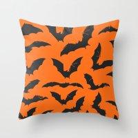 bats Throw Pillows featuring Bats by Sara Eshak