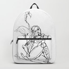 Woman and flamingo Backpack