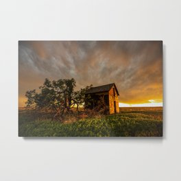 Basking in the Glow - Old Barn In Warm Sunlight in Oklahoma Metal Print