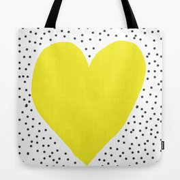 Yellow heart with grey dots around Tote Bag