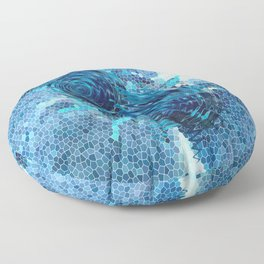 Spinning top and mosaic in blue Floor Pillow