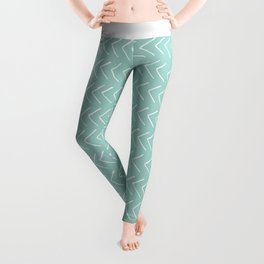 Hand painted pastel green white geometrical chevron Leggings