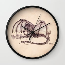 """Material Girl"" by Amber Marine ~ Graphite & Charcoal Dragon Art, (Copyright 2005) Wall Clock"
