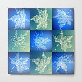 leaf collage in blue Metal Print