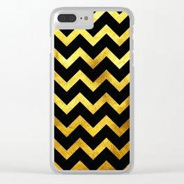 Black & Gold Chevron Clear iPhone Case