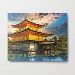 Kinkaku-ji Temple Kyoto - Japan - Digital Oil Painting Metal Print