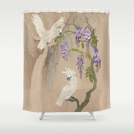 Cockatoos and Wisteria Shower Curtain