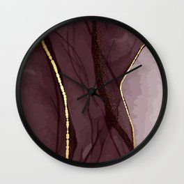 Alcohol ink red gold Wall Clock