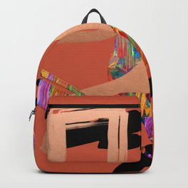 Abstract Collage on Orange Backpack