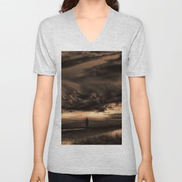 Another place at sunset Unisex V-Neck