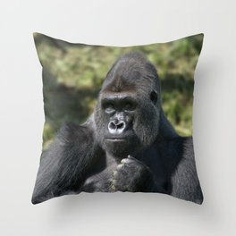 Silverback Gorilla Portrait Throw Pillow