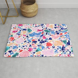 Terrazzo Crystals / Mineral Texture in Blue, Pink and Turquoise Rug