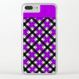 Combo black purple plaid Clear iPhone Case