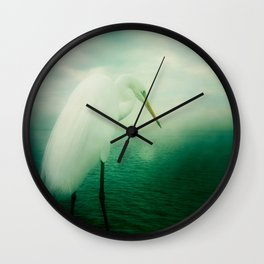 White Egret Wall Clock