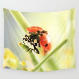 Spring Garden Ladybug On Broccoli Wall Tapestry