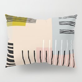 Abstract Funky Geometric Print with Organic Shapes and Stripes Pillow Sham