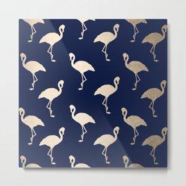 Gold Flamingo Pattern Navy Blue Metal Print