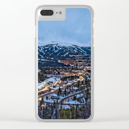 BRECKENRIDGE COLORADO WINTER NIGHT SKI TOWN CITY PHOTOGRAPHY Clear iPhone Case