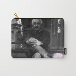 Albert Einstein in Fuzzy Pink Slippers Classic E = mc² Black and White Photography Carry-All Pouch