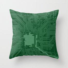 Green Geek Motherboard Circuit Pattern Throw Pillow