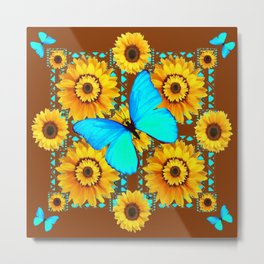 BROWN KANSAS SUNFLOWERS TURQUOISE BUTTERFLIES Metal Print