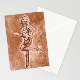 vintage style art pinup girl in lingerie Stationery Cards