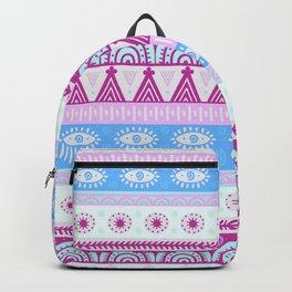 Hand painted geometric pastel pink blue teal watercolor tribal Backpack