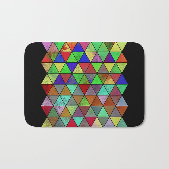 Textured Triangles 2 - Abstract, geometric, textured painting Bath Mat
