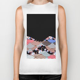 Nature background with japanese sakura flower Cherry, black wave circle pattern Biker Tank