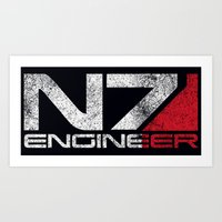 engineer Art Prints featuring N7 Engineer by Draygin82