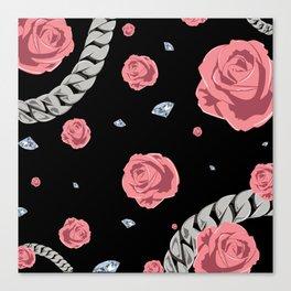 "Rose "" Pink  Black "" Canvas Print"