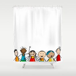 Smiling faces Shower Curtain