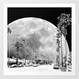 California Dream // Fantasy Moon Beach Sidewalk Black and White Palm Tree Silhouette Collage Artwork Art Print