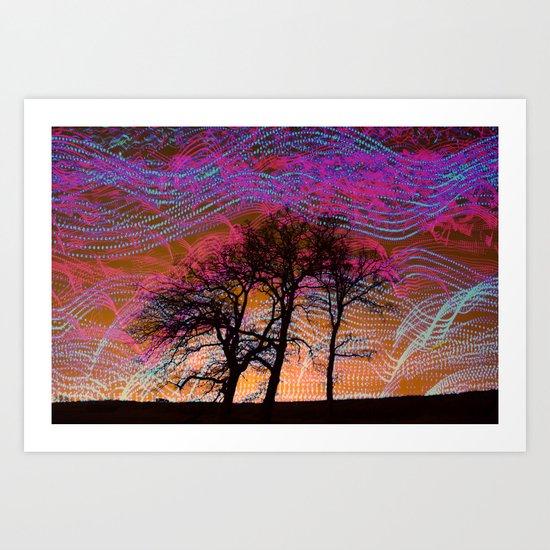 Disco Dancing Trees Art Print