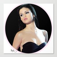 selena gomez Canvas Prints featuring Selena by kelsey cooke art