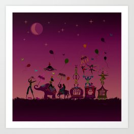 colorful circus carnival traveling in one row at night Art Print