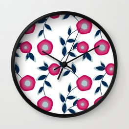 Red flowers on a white background. Wall Clock