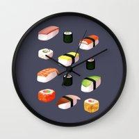 sushi Wall Clocks featuring Sushi by Skrich