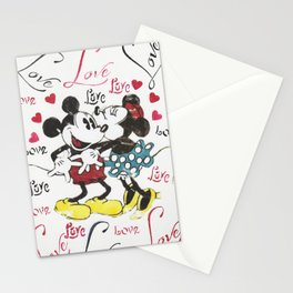 Mickey and Minnie in love Stationery Cards