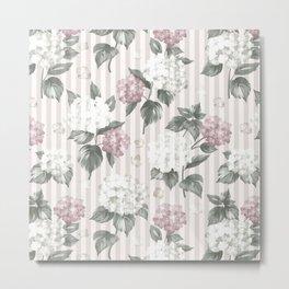 Bohemian pastel pink green floral stripes pattern Metal Print