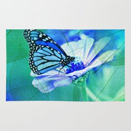 Butterfly, Flower And Leaves Rug