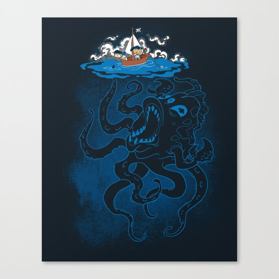 Here There Be Monster Canvas Print