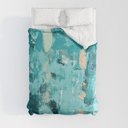 020: a vibrant abstract design in teal and peach by Alyssa Hamilton Art  Comforters