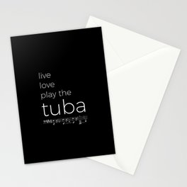 Live, love, play the tuba (dark colors) Stationery Cards