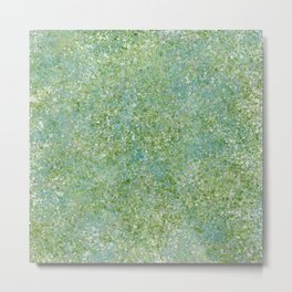 Splatter Painting in Blue, Green and White Metal Print