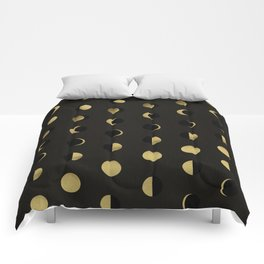 The Lunar Cycle • Phases of the Moon – Black & Gold Palette Comforters