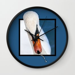 Swan with 3D pop out of frame effect Wall Clock