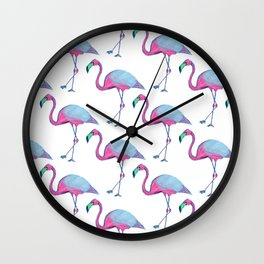 Pink Flamingos with blue wings Wall Clock
